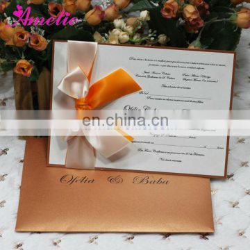 AEA030 Gold Color Ribbon With Envelope wholesale wedding invitations