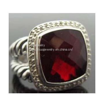 Sterling Silver Jewelry 14mm Garnet Albion Ring(R-098)