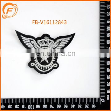 Silver Embroidery Patch Designs Custom Embroidery iron on Badge