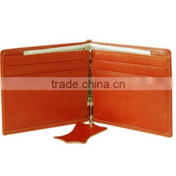 Genuine leather clip wallet with card holder