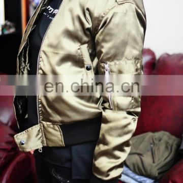 Women Bomber Jacket Fog Sleeve Olive Basic Quilted Bomber Flight Polyester Jacket /Stich Lines on the Side Ways