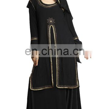 Women's Anarkali Umbrella Style Long Abaya Burkha With Attached Chiffon Jacket ( Long Flairs Abhaya Burqas 2017)