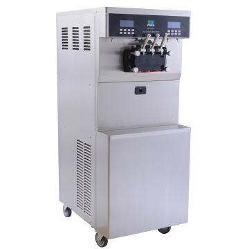 White Ice Cream Machine Mix 3 Flavors Color Spraying Material