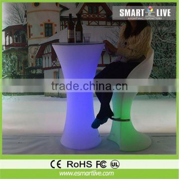 2014 popular rotational mould remote control LED outdoor furniture cafe table chair set LGL60-9502/9506