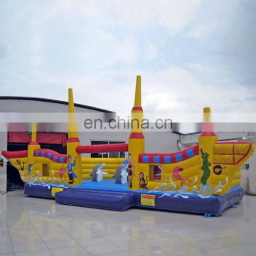 Golden pirate ship inflatable obstacle