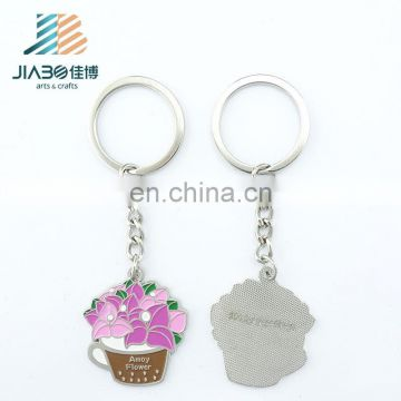 Jiabo custom potted plant beautiful flower metal keychain