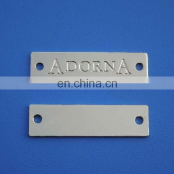 custom rectangle debossed logo metal plate for furniture