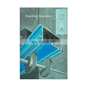 Knurling machine with strip insertion for aluminum window and door