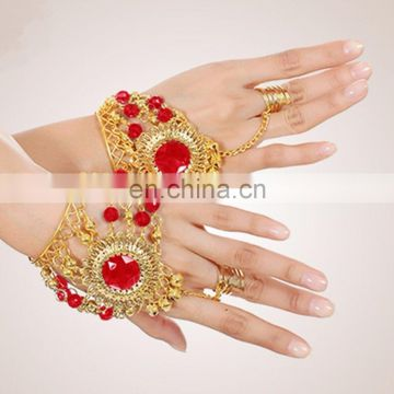 BestDance New Tribal Belly Dance Bracelet Performance Practice Red Diamond Ring Coin Accessories Bracelet&Bell