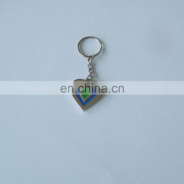heart shaped double side logo printing color metal key chains sliver one