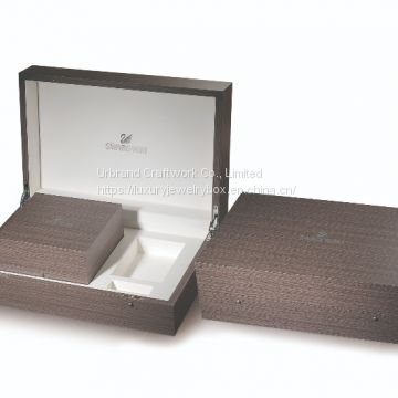 Private Custom Luxury PU Leather Gift Wooden jewelry box Packing Box With Lock