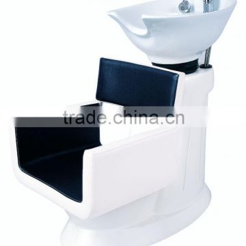 white and black shampoo chairs
