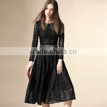 2016 luxurious original design dots lace lady fashion dress with long sleeve and belts