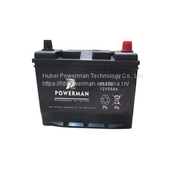 Powerman 12V 55Ah Lead Acid Portable maintenance free car battery for starting from chinese suppliers or manufacturers