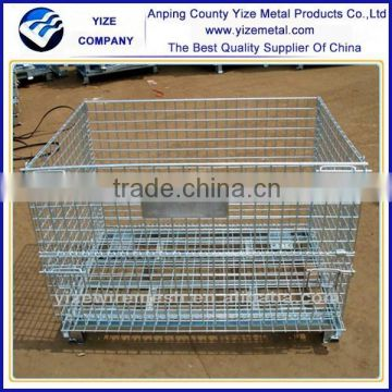 High quality Steel Wire Mesh Pallet Box for Warehouse Storage with Casters