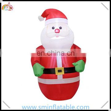 Wholesale christmas inflatable santaclaus with santa sack, led christmas ornament inflatable santa gift bags for promotion event