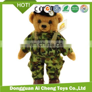 hansome army uniform dressed plush stuffed teddy bear toys