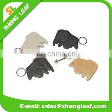 whole sale creative elephant shaped leather keychain keyring with best price