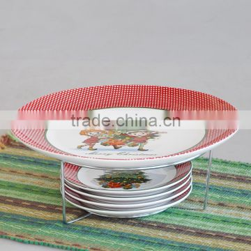 5pcs ceramic plate set with metal rack