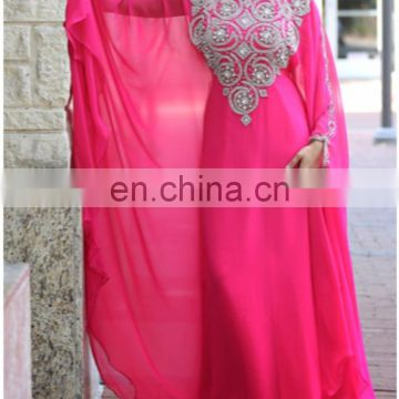 Elegant Chiffon Kaftan embelished with beautiful beads and crystal decor pakistani dress for women