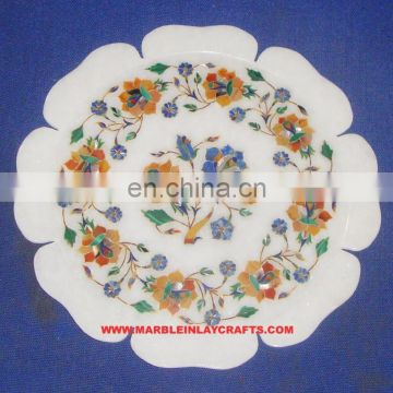 Exclusive Marble Inlay Plate Handcrafted Marble Inlay Plate