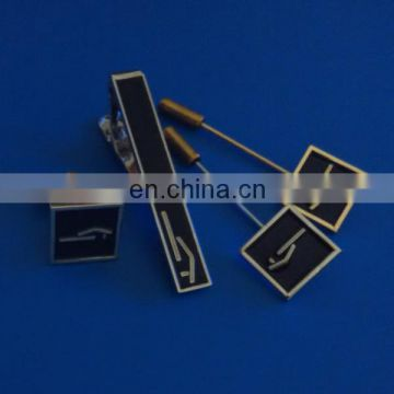 Fashion Metal cufflink, tie pin and lapel pin set with custom logo design