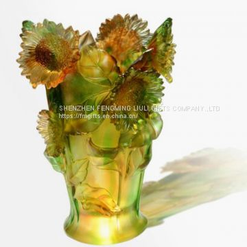 High Grade Crystal Horse Vase for Home or Hotel Decoration