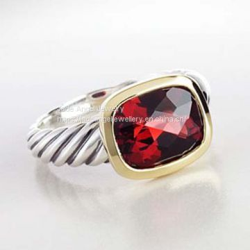 Women Fashion Sterling Silver Gold  Two Tone Garnet Noblesse Ring