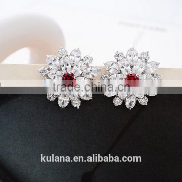EZ-23 Crystal Micro Paving Jewelry Brass Material Rhodium Plated Flower CZ Crystal Earrings