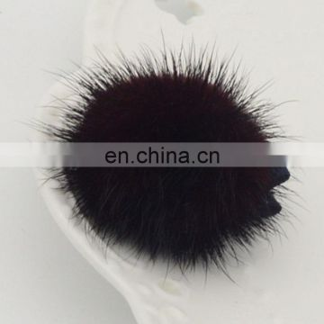 Lovely kids girl hairpin high quality wholesale mink fur ball hairpins
