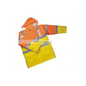 yellow High visibility parka unifoem in workwear rain tacket