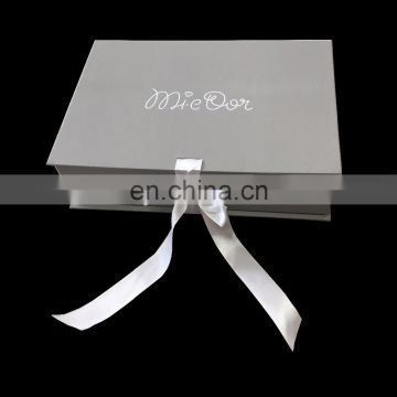 Quality Touch Printing Matt Ribbon Folding Light Grey Sweater Box With White Ribbon