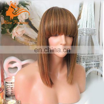 Blonde Straight Bob Full Lace Wig Human Hair Virgin Brazilian Hair Glueless African Wig For Black Women