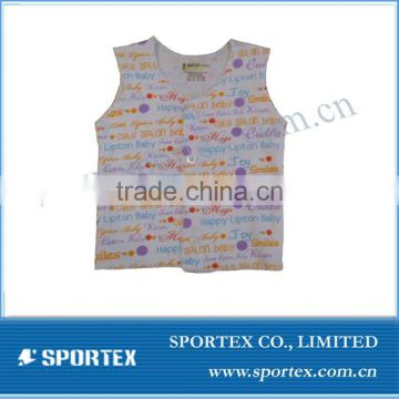 trendy baby vest with comic words pattern all over