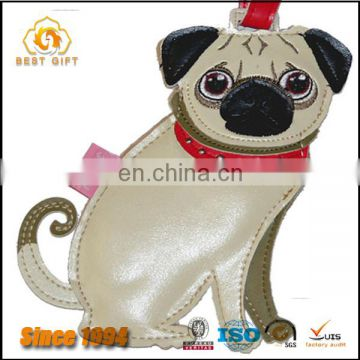 Newly designed cute dog shape custom leather luggage tag