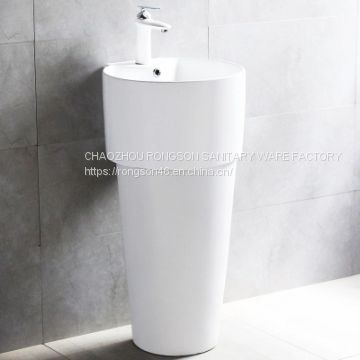 Sanitary ware bathroom diamond shape ceramics big size floor standing single hole pedestal basin for hot sale