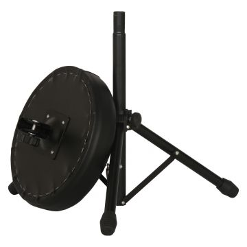 Good quality height-adjustable leather and iron round drum stool