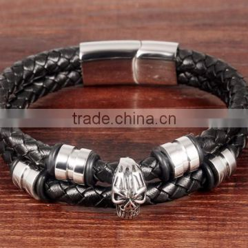 Global hot sale north skull bracelet for men black dual leather bracelet factory outlets