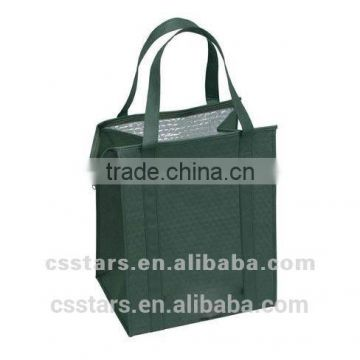 Hunter green insulated shopping bag in Polypropylene