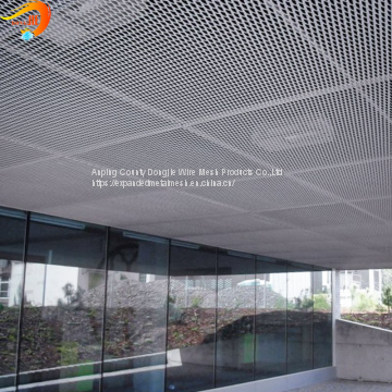 Flattened expanded metal ceiling smooth surface