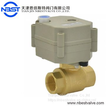 DN8 Brass Mini Intelligent Electric Operated Ball Valve With manual And Indicator