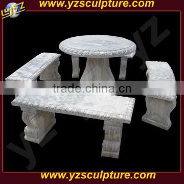 low-price white marble outdoor bench
