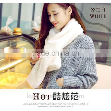 Super quality New Winter Fashion Women Scarf Faux Rabbit Fur Plush Warm Scarf Lady Solid Color Scarves