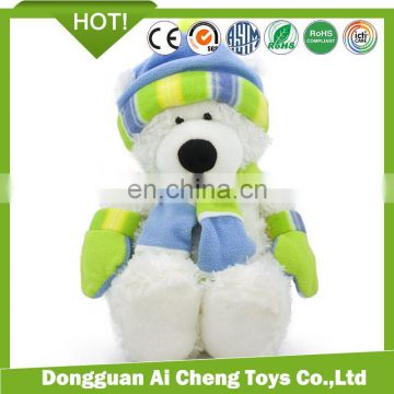 2017 winter new products teddy bear series plush toy with hat and scarf