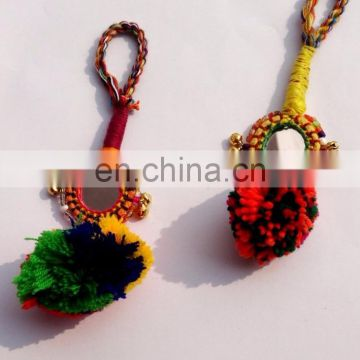Beautiful handmade Indian tassels Vintage mirror small key chain/zip puller ..2015.. Xmas offer