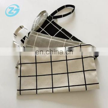 Cheap Mini Ziplock Checker design Cotton Canvas Hand Bag Coin Purse Cosmetic Bag Pencil Cases