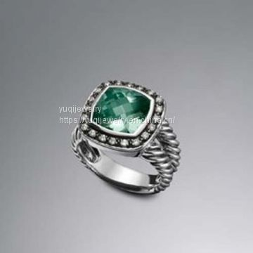 925 Silver Jewelry 11mm Prasiolite Moonlight Ice Ring(R-074)