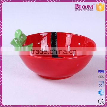 hand-painted red ceramic christmas round candy bowl