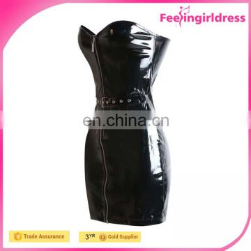 New Arrival Zipper Front Sexy Strapless Long Leather Evening Dress