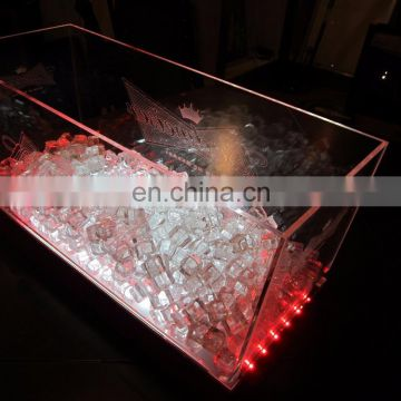 acrylic led ice bucket with lighting logo for beer promotional